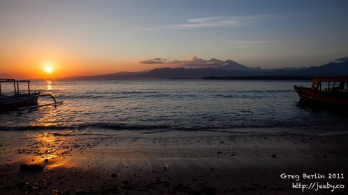 Sunrise from Gili Air, Lombok, Indonesia