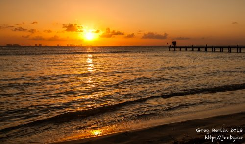 Pretty Sunrise on the west side of Isla Mujeres, Mexico