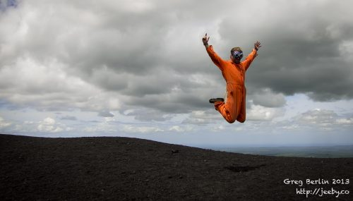Volcano boarding jump, Nicaragua
