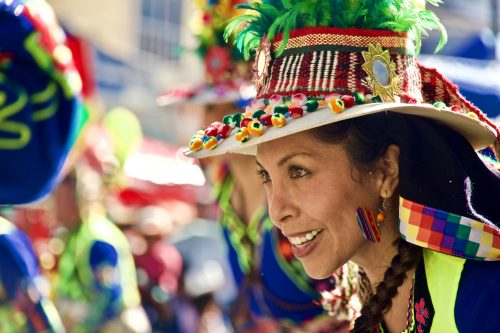 Colourful dancer in El Gran Poder